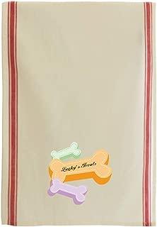 Personalized Custom Text Dog's Treats Bones Pets Cotton Canvas Kitchen Towel Vintage Trim - Red Stripe
