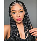 """Imeya Long Braiding Wigs 13x4 Lace Front Wig For Black Women 18"""" Updated Braided Wigs With Baby Hair Middle Part Micro Braids Natural Black Hand Braided Box Braids For Daily Use 180% Density (18 Inch)"""