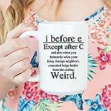 Taza de café de cerámica blanca de 11 oz, taza de gramática, taza de profesor