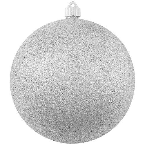 Christmas By Krebs Giant Commercial Grade Indoor Outdoor Moisture Resistant Shatterproof Plastic Ball Ornament, 8' (200mm), Silver Glitter