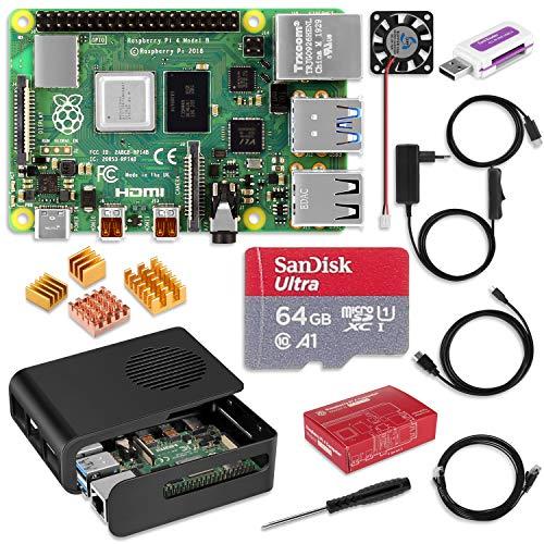 Yosemy Raspberry Pi 4 Modell B 4-GB-Starterkit mit 64GB Class 10 SanDisk Micro SD Karte, 5V 3A USB-C Netzteil, Lüfter, Schwarzes Gehäuse, 4 Kühlkörper, Micro HDMI zu HDMI Adapterkabel, Netzwerkkabel