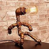 Lámpara de Sala de Estar de Dormitorio Hierro Creativo Robot lámpara de Mesa, lámpara LED de Ahorro de energía Retro, Bar café Agua Tubo Luminoso, E27 Interfaz (Color : C)