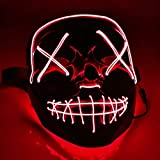 TK Gruppe Timo Klingler LED Grusel Maske rot - wie aus Purge mit 3X Lichteffekten, steuerbar, für...