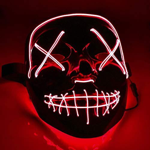 TK Gruppe Timo Klingler LED Grusel Maske rot - wie aus Purge mit 3X Lichteffekten, steuerbar, für Halloween als Kostüm für Herren & Damen (rot)