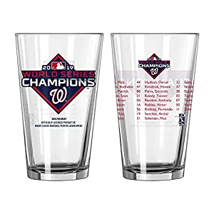 Boelter Washington Nationals 2019 World Series Champions Team Roster 16 Ounce Pint Beer Glass