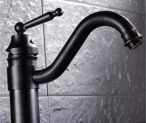 qingchunjiejie europeo y americano negro antiguo todo cobre sobre el grifo del lavabo del mostrador lavabo retro bajo el lavabo del mostrador grifo de un solo orificio frío y caliente