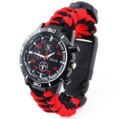 Reloj para Exteriores, Reloj con brújula, Correa Trenzada de Siete núcleos, Reloj Impermeable para Exteriores, Reloj Deportivo Multifuncional, montañismo-Red