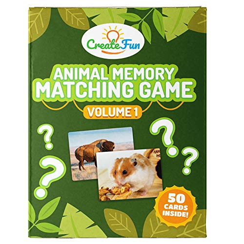 CreateFun Animal Memory Matching Card Game   for Toddlers Preschool Kindergarten and Families   Fun for The Home School Parents Speech Therapy and ESL