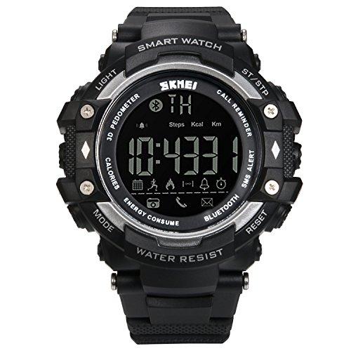Lancardo Reloj Inteligente Smartwatch Monitor Saludable Podómetro Caloría Reloj Deportivo Impermeable de 50m Bluetooth Control Remoto para Android y iOS Smartphones para Hombre, Mujer (Plata)