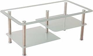 CJDM Table Basse en Verre trempé, Table à thé rectangulaire Simple et Moderne pour Petit Appartement, Table Basse en Acier...