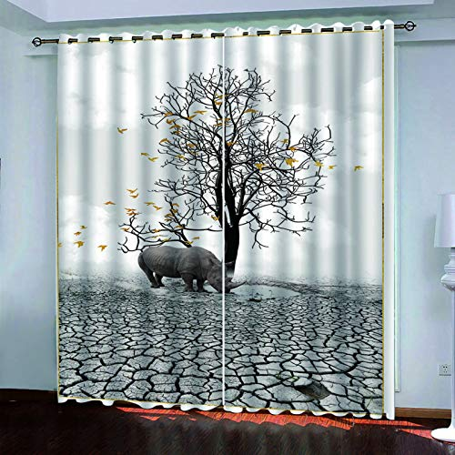 YUNSW 3D Oil Painting Rhino Curtains, 2-Piece Perforated Curtains, Shade Curtains For Garden, Kitchen, Bedroom, Living Room
