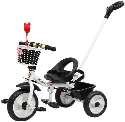 DONGLIAN Tricycle pour Enfants, Vélo à Pédales, Chariot Parental avec Poignée, Convient Aux Enfants De Moins De 120 Cm (Couleur   noir)