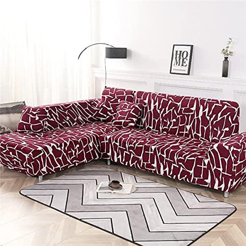WXQY Funda de sofá elástica geométrica Funda de sofá elástica Fundas para sofá de Esquina seccional en Forma de L Chaise Longue Funda de sofá A15 2 plazas