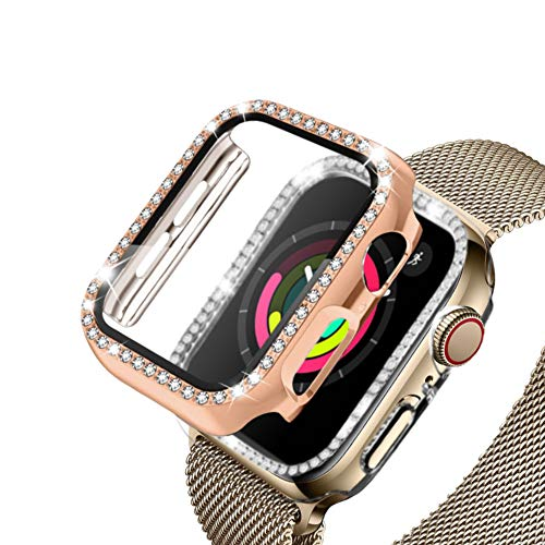PaceBid 2 Pack Bling Cristal Diamante Funda Compatible con Apple Watch Series 4/5/6/SE 42 mm, Built-in HD Protector de Pantalla PC Parachoque Funda para Niñas Mujeres- Rose Gold & Transparent