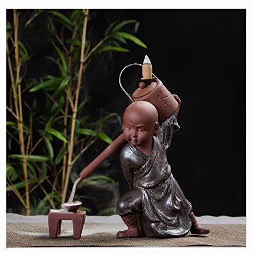 Quemador de incienso Quemador De Incienso Buda, Decoración Creativa Para El Hogar El Pequeño Monje Pequeño Buda Incensario De Reflujo Quemador De Incienso Uso En Casa De Té Incensario ( Color : C )