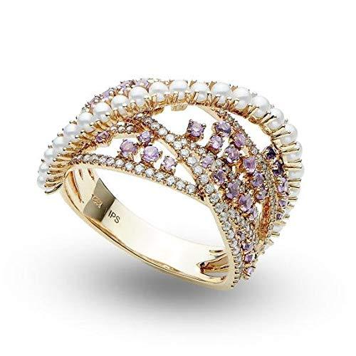 Anello moda perla, diamanti e ametista 14k oro rosa 0.99ct, anello di fidanzamento in oro per sempre, fede nuziale, anello oro promessa