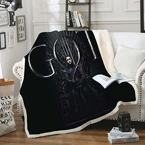 HKYH - Manta de franela con diseño de Juego de Tronos, manta de microfibra estampada 3D cálida de peluche suave para adultos y niños (A,Mediana 130 x 150 cm)