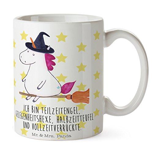 Mr. & Mrs. Panda Kaffeetasse, Kaffeebecher, Tasse Einhorn Hexe mit Spruch - Farbe Weiß
