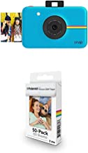 Polaroid Snap Instant Digital Camera (Blue) with Polaroid 2x3ʺ Premium ZINK Zero Photo Paper 50-Pack