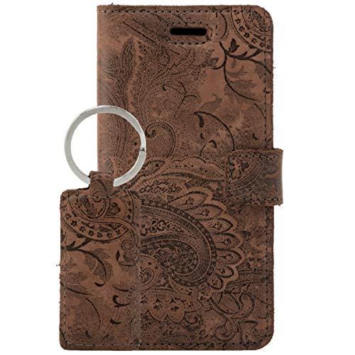 SURAZO Handy Hülle Für Samsung Galaxy J7 (2017) Book Classic RFID Ornament Braun - Glattleder Premium - Vintage Wallet Hülle