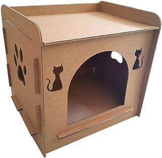 Lazder - Casa rascador de cartón para gatos, cama nido para gatitos en forma de casa, juguete masticable y para afilar las...