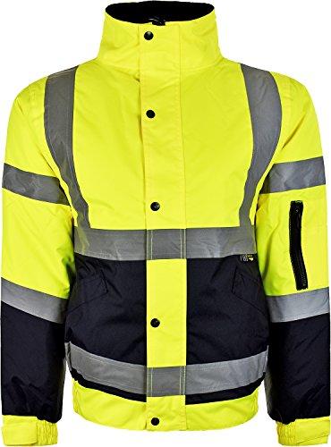 Herren-Jacke, hohe Sichtbarkeit, Bomberjacke, gepolstert, warme Winterjacke Gr. XXXXL, gelb