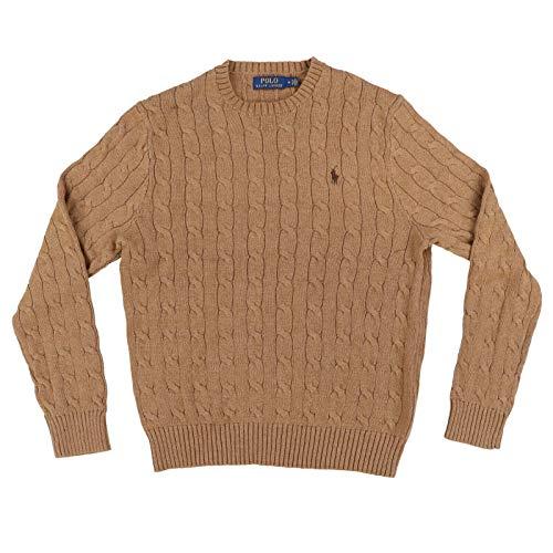 Polo Ralph Lauren Men's Cable Knit Long Sleeve Sweater (Light Brown, L)