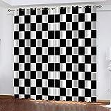 Ageeseso® Cortina Dormitorio 3D Celosía Simple en Blanco y Negro Cortinas De...