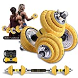 Ancient Deer Adjustable Dumbbells Set,44LB Pound Set of 2 Free Weights Dumbbells Exercise Weights Rubber Dumbbells with Connecting Rods Suitable Used as Barbell Set Gym Exercise Home Training