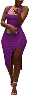 Mogogo Womens Tank Top High Split Midi Bodycon Clubwear Sexy Dresses