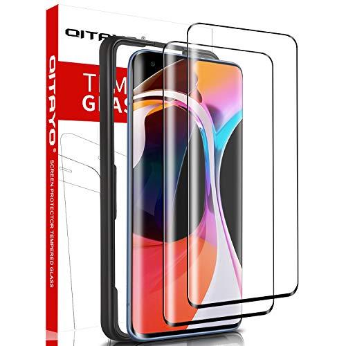 QITAYO, 2 Stück, Panzerglasfolie kompatibel mit Xiaomi Mi 10 & Xiaomi Mi 10 Pro, mit Positionierhilfe, 9H Festigkeit, 3D Vollständige Abdeckung, Panzerglas schutzfolie für Xiaomi Mi 10 / Xiaomi Mi 10 Pro