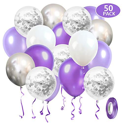 SKYIOL Luftballons Violett Lila Weiß Silber 50 Stück 30cm Geburtstag Hochzeit Ballons Konfetti Metallic Helium Ballon mit 10m Band als Kinder Mädchen Abschluss Baby Shower Party Deko