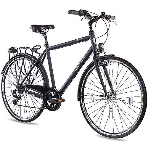 CHRISSON 28 Zoll Citybike Herren - City One schwarz matt 56 cm - Herrenfahrrad mit 7 Gang Shimano Tourney Kettenschaltung - praktisches Cityfahrrad für Männer