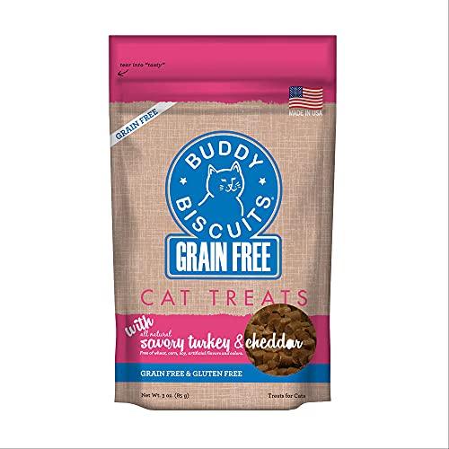 Buddy Biscuits Friandises Douces pour Chat - Grain à mâcher et sans Gluten - pour Chaton, Dinde et Cheddar - 85 g