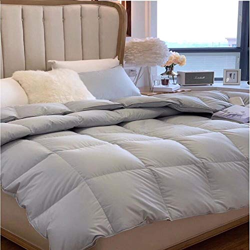 Hahaemall Duvets King Size Quilt White Goose Feather And Down Duvet - Anti-Dust Mite & Feather-Proof Fabric - For All Season Use - Duvet Quilt-Gray_220x230cm