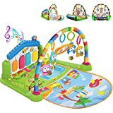 WYSWYG Baby Play Mat for Floor, Baby Play Gym Activity Mat, Infant Toys 0+ Months, Kick and Play Piano Gym Activity Center for Baby with Music and Lights (Blue)