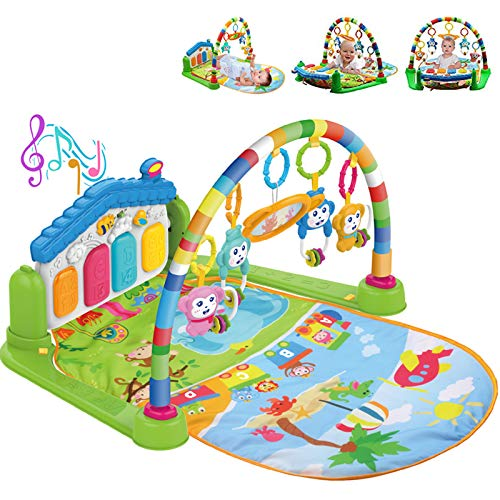 WYSWYG Baby Gym Jungle Musical Play Mats for Floor, Kick and Play Piano Gym Activity Center with Music, Lights, and Sounds Toys for Infants and Toddlers Aged 0 to 6 12Months Old (Blue)