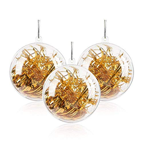 cheap4uk Clear Plastic Craft Ball, 10pcs Transparent Fillable Ball Baubles Xmas Tree Ornaments Bath Bomb Mold for Wedding Home Party Birthday Decoration (80mm)