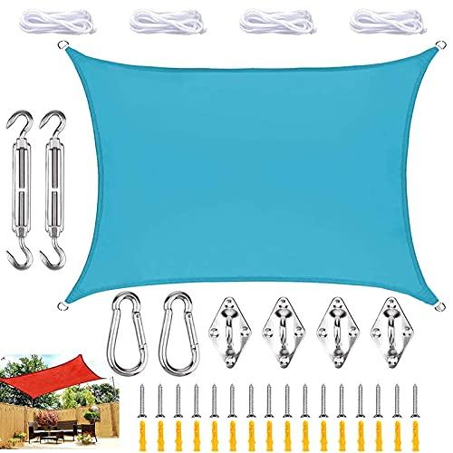 QDY Rectángulo De Vela De Parasol con Kit De Fijación, Tol