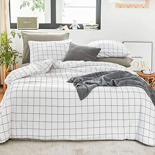 Ntyaxin Home Duvet Cover Set 3 Piece White Black Buffalo Plaid (1 Duvet Cover +2 Pillowcase) Grid Comforter Cover Ultra Soft Microfiber Bed Quilt Cover Zipper Plaid White 3, Queen 90x90 inches
