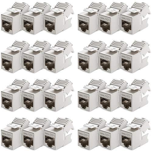 deleyCON 24x CAT6a Mini Keystone Jack Modul Cable de Conexión Cable de...