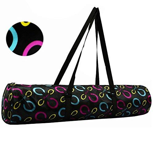 sijueam® Réglable Tapis de yoga Sac imperméable durable lavable en machine Housse de transport Sac à dos Sac à bandoulière de pochette facile à ouvrir Noir/gris Pattern 1