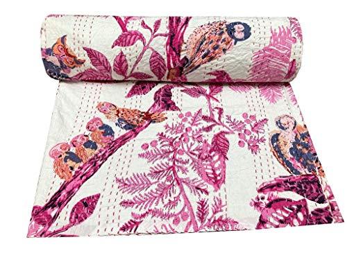 Indian-Shoppers Colcha acolchada a mano de algodón hippie rosa búho impreso AC Coverlets decoración ropa de cama Queen Kantha Quilts