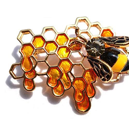 Clásico De las mujeres del Rhinestone de la broche de abeja broche de la manera de la broche de abeja de oro de oro de la chaqueta joyería linda ropa de mujer Moda regalo para mujeres, niñas, damas,