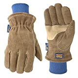 Men's Lined HydraHyde Winter Leather Work Gloves, Large (Wells Lamont 1196), Saddle tan