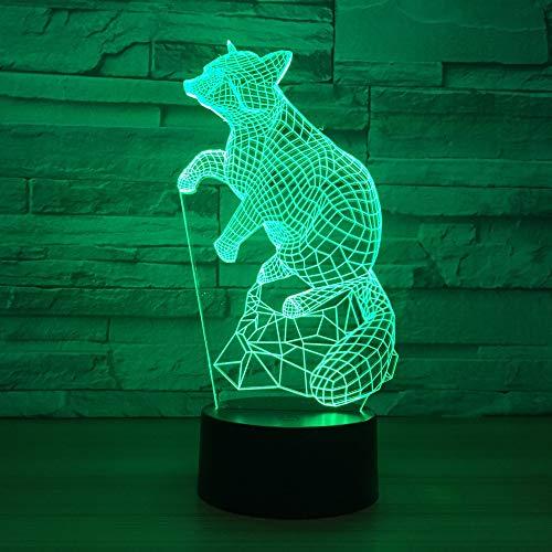 Fox Mouse 3D Lámpara de mesa Juguete para niños Luz de regalo Noche Control creativo Colorido Led USB 3D Lámpara de mesa Juguete para niños Accesorios de iluminación Luz para habitación de niños Dec