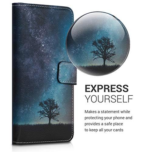 kwmobile Huawei Y6 (2019) Hülle - Kunstleder Wallet Case für Huawei Y6 (2019) mit Kartenfächern und Stand - Galaxie Baum Wiese Design Blau Grau Schwarz - 2
