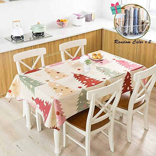 Fansu Mantel para Mesa Rectangular,Serie Navideña Minimalista Nórdica Impermeable Lavable Mantel - Adecuado para Decorar Cocina Comedor Salón Restaurante (100x140cm,Arbol de Navidad)