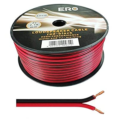2 x 0.50mm Speaker Cable Wire4U® Figure 8, Quality, 50 Strands Wire In 10 20 50 100 Metres (100 metres, Red/Black)