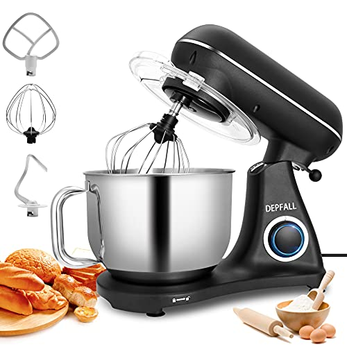 DEPFALL Stand Mixer, 6.8-QT 800W 6-Speed All Metal Housing Tilt-Head Food Dough Mixer, SM-1522Y Kitchen Electric Mixer with Stainless Steel Bowl, Hook, Whisk, Beater (6.5L, Matte Black)